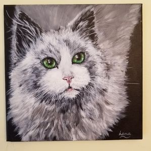 """Cat Picture Wall Art Painting 12"""" x 12"""""""